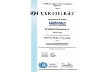 Certifikát ISO - SK
