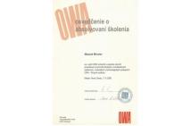 OWA - certifikát na montáž